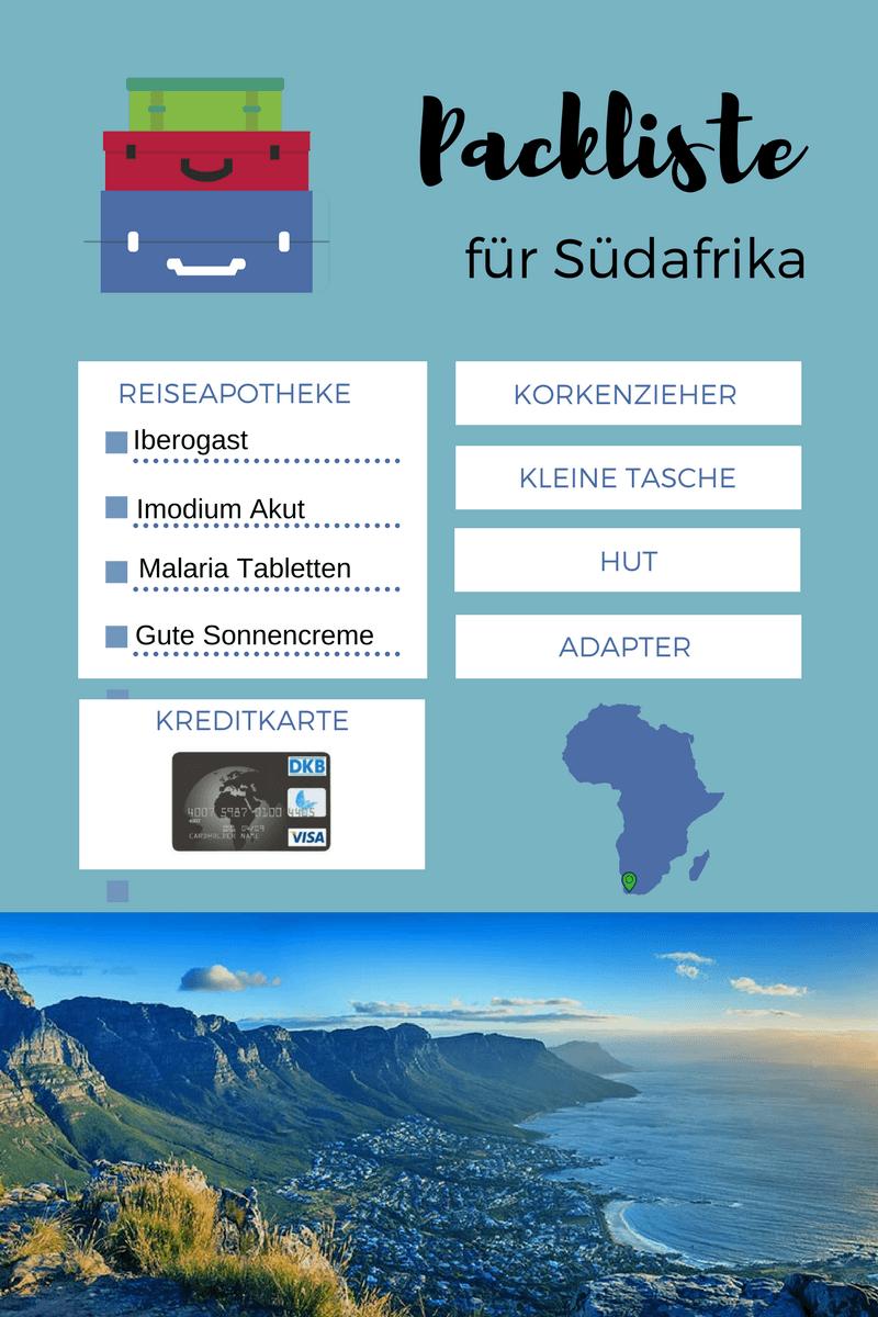 Packliste Urlaub Südafrika